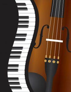 23241453 - piano keyboards wavy border with violin closeup background illustration